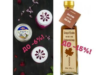 Кленовый сироп и кокосовая продукция со скидкой до 15%